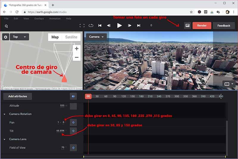Configurando Google Earth Studio para sacar fotos 360