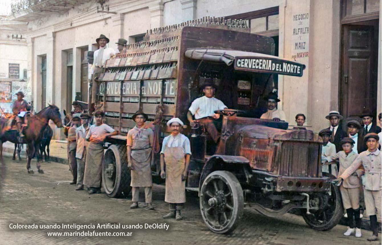 Fotografía coloreada de la Cervecería del Norte en Tucumán