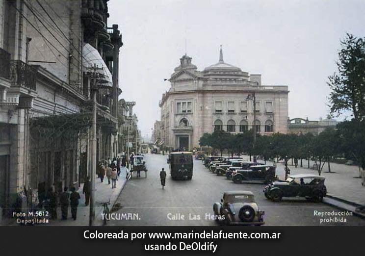foto coloreada de tucuman - calle san martin