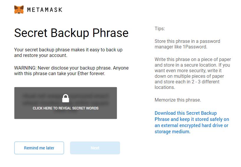 metamask frases de backup