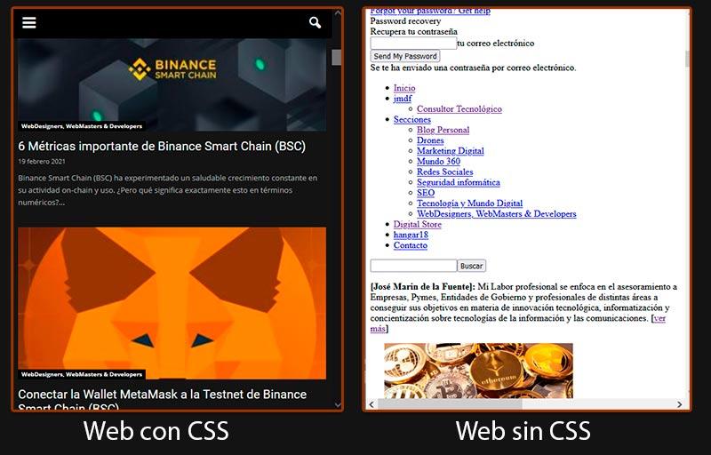 web con css y sin css